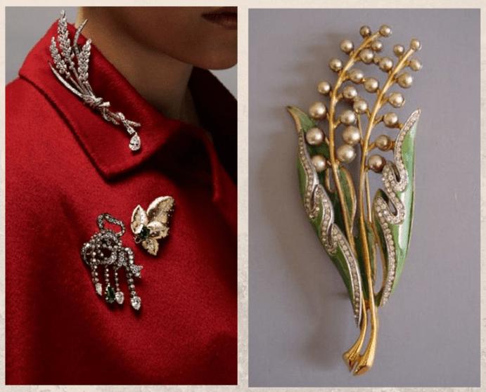 Винтажная брошь: как носить украшение с историей. Пуловер