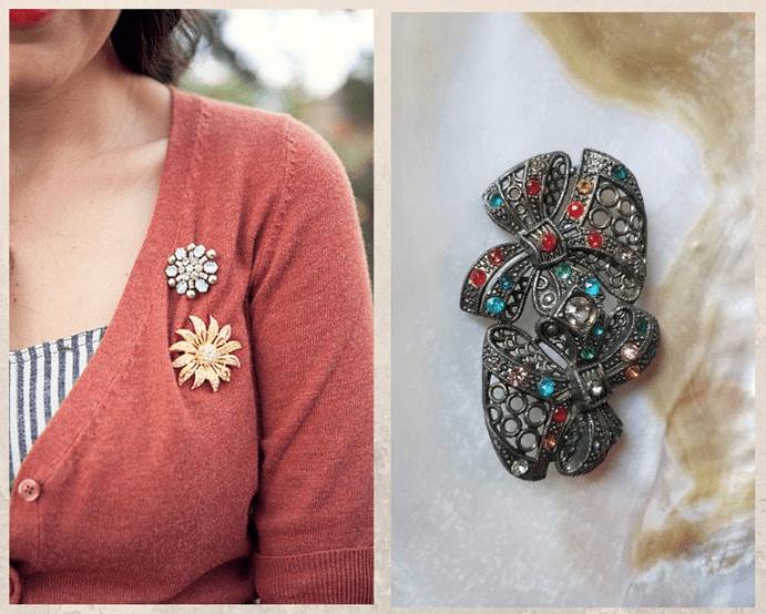 Винтажная брошь: как носить украшение с историей. Кофта