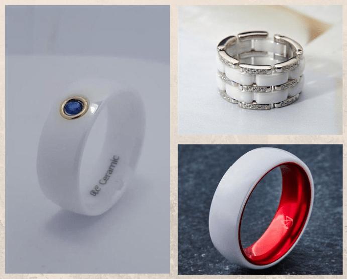 Белые обручальные кольца. Тренды необычных колец 2021. Керамика