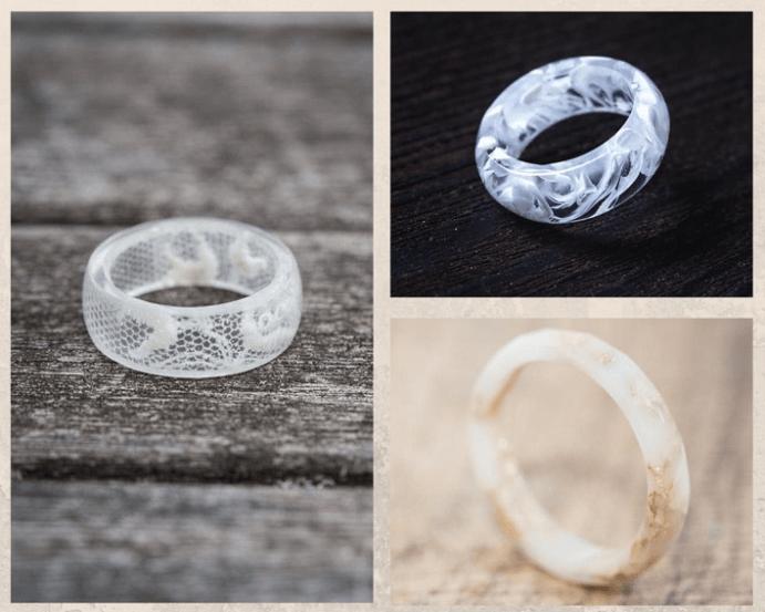 Белые обручальные кольца. Тренды необычных колец 2021. Ювелирная смола