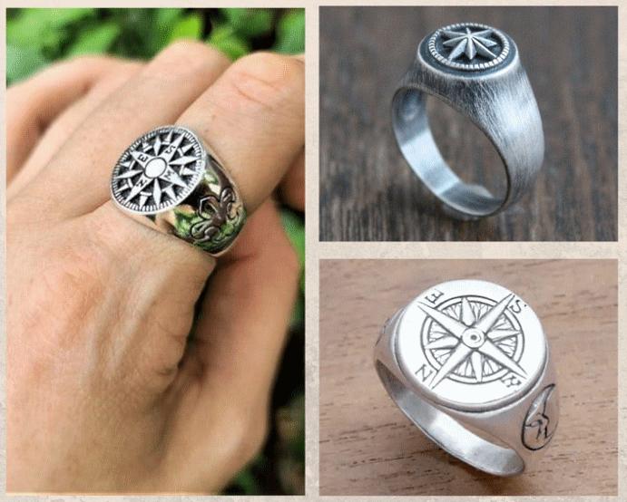 Перстень Роза ветров: для моряков и путешественников. Варианты оформления