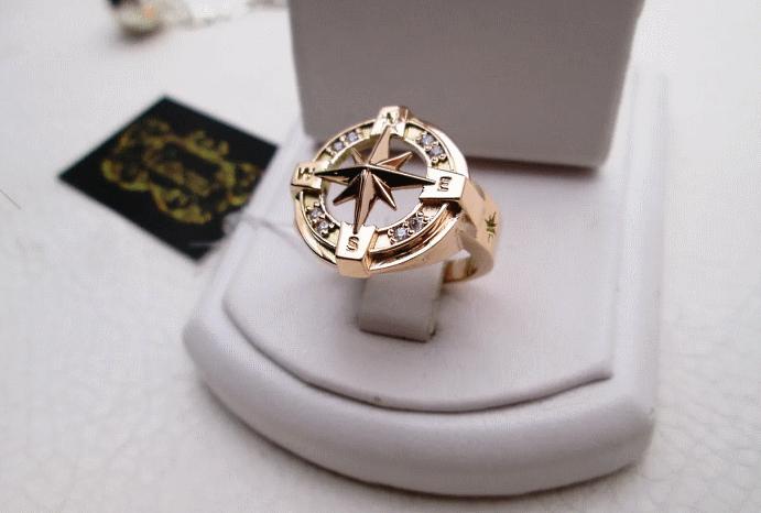 Перстень Роза ветров: для моряков и путешественников. Золотое кольцо в футляре