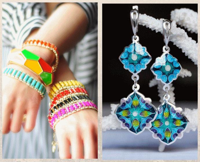 Модные ювелирные украшения: что носить осенью 2021 года. Яркая цветная эмаль