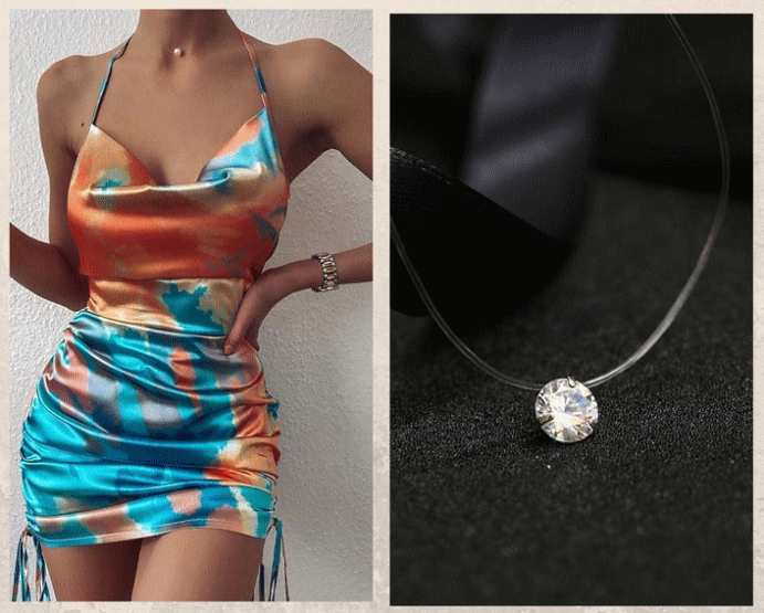 Какие украшения носить с платьем-комбинацией. Камень на леске