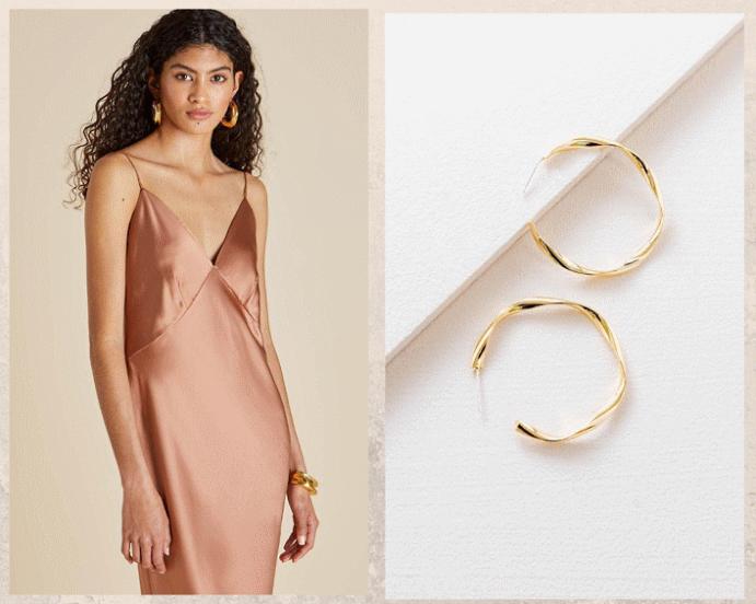 Какие украшения носить с платьем-комбинацией. Хупы или конго
