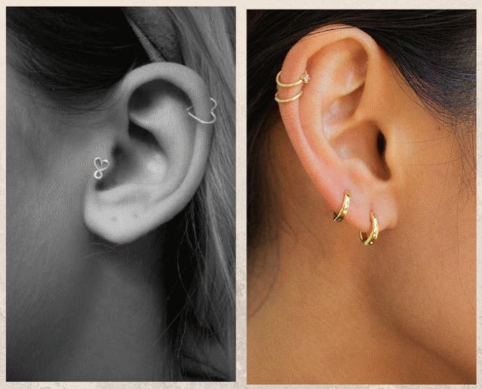 Хеликс: второй по популярности пирсинг уха. Материалы изготовления